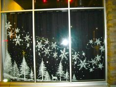 christmas snow Trees and blowing snow by Window-Painting Christmas Window Decorations, Christmas Window Display, Holiday Decor, Christmas Windows, Christmas Window Paint, Christmas Window Stickers, Christmas Projects, Christmas Art, Winter Christmas
