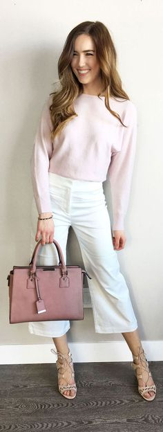Most flattering white wide cropped pants! Paired with shades of pink for the perfect spring outfit. Favorite pink bag from Le Chateau (under $60) #spring #outfit #style #fashion #styleidea #outfitidea #styleinspiration #outfitinspiration #whitepants #pinksweater #pinkbag by Marie's Bazaar