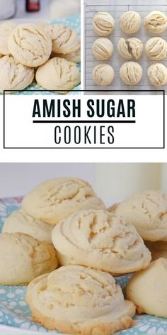 Melt-in-your-mouth Amish Sugar Cookies made with simple ingredients! This easy holiday dessert recipe is the perfect addition to your holiday baking list or Christmas cookie exchange party. It is so good you will want to double the recipe next time! Smores Dessert, Dessert Dips, Amish Sugar Cookies, Sugar Cookies Recipe, Yummy Cookies, Cookies Et Biscuits, Keto Biscuits, Keto Cookies, Cookies With No Eggs