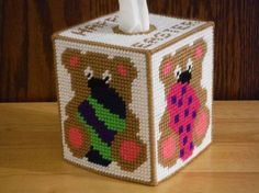Easter Teddy Tissue Box Cover Plastic Canvas by ShanaysCreation