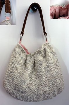 Simple knit bag, would love this with some flowers on it