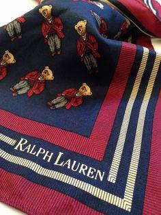 Rare Ralph Lauren Polo Bear Silk Scarf
