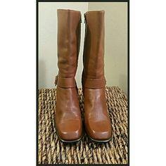 ANTONIO MELANI COGNAC LEATHER BOOTS...8.5 Zipper side....friend says practically new.  FINAL PRICE. ANTONIO MELANI Shoes Heeled Boots
