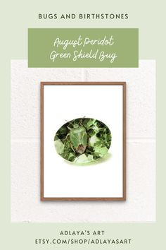 This August birthstone art print features a peridot gemstone drawn in exquisite detail in coloured pencil, with agreen shield bug perched on top. These prints are available for digital download in my Etsy shop, and make perfect August birthday gifts! For more insect birthday ideas visit etsy.com/shop/adlayasart Gemstone Art Print | Birthstone Wall Art | Crystal Drawing Printing Services, Online Printing, Crystal Drawing, Birthday Ideas, Birthday Gifts, Bug Art, August Birthday, Color Calibration, Peridot
