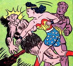 Wonder Woman knocks out a caveman. —Wonder Woman #18 (1946) art by H.G. Peter