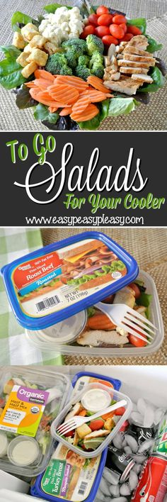 From salad to container to cooler to trash. Easy To Go Salads with no cleanup are the perfect addition to your cooler when hitting the lake, ballpark, beach and tailgating. Beach Vacation Meals, Beach Meals, Vacation Food, Vacation Destinations, Boat Food, Boat Snacks, Road Trip Snacks, Road Trips, Portable Snacks