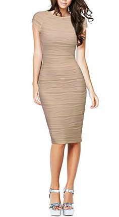 438c0856 REPHYLLIS Women's Casual Boat Neck Slim Bodycon Business Party Work Pencil  Dress S Beige Work Dresses