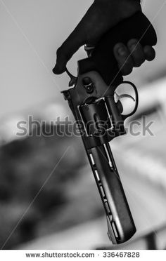 Hand pistol black and white - stock photo