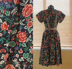 Items similar to / Marion Donaldson Liberty print midi floral dress Spring Summer / M L on Etsy Liberty Print, Floral Midi Dress, 1970s, High Neck Dress, My Style, Trending Outfits, Unique Jewelry, Handmade Gifts, Prints