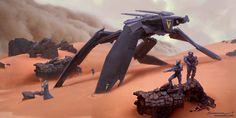 Sand Snake Patrol - Tribute to Nivanh Chantara by Yohann Schepacz Concept Art World, Robot Concept Art, Armor Concept, Cyberpunk, Kai, Mexico 2018, Sci Fi Environment, Environment Design, Mechanical Design