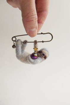 Hanging Sloth in Grey Blue-Light, Felted Animal Brooch, Sloth Jewelry