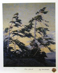 Pine Island, Georgian Bay - Tom Thomson - Oil Painting Reproductions and Prints from Canvas Replicas Canadian Painters, Canadian Artists, Landscape Art, Landscape Paintings, Tree Paintings, Emily Carr, Group Of Seven Paintings, Group Of Seven Art, Tom Thomson Paintings