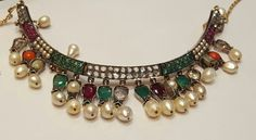 Antique Anglo-Indian Diamond, Colour stone and natural pearl Necklace. XIX Century. www.gutgalgems.com