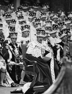 Prince Henry, Duke of Gloucester seated with Peers at the coronation of his brother, King George VI, 1937