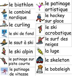 This word wall contains 47 sport words, all illustrated, to help students acquire more French vocabulary. It includes all the sports from the Winter Games in Sochi as well as several words related to hockey.