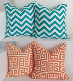 Pillow Covers - Turquoise Chevron and Orange Greek Key - Set of 4 - 16x16 Pillow Covers. $70.00, via Etsy.