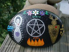 Altar Stone/Home Protection Stone with God, Goddess, Pentacle, and Elements ~ Made-To-Order