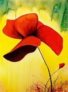 "Artist Kyle Brock; Painting, ""Poppies"""