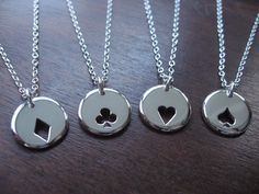 Cousin and us  Four Playing Card Suit Charms Silver Necklaces Pendants by GorjessJewellery on Etsy https://www.etsy.com/listing/90952965/four-playing-card-suit-charms-silver