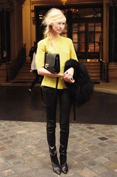 Great way to transition your Summer brights/neons into Fall with Leather + Fur!