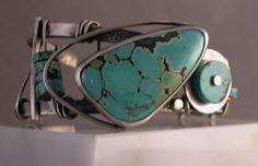 Handmade Turquoise, Sterling Silver and Gold Bracelet Myska Jewelry One of a Kind by MyskaJewelry on Etsy