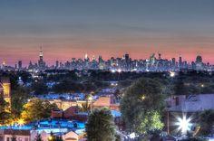 The midtown Manhattan skyline on the horizon