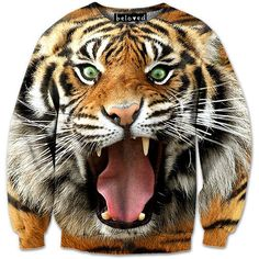 Fierce Tiger Sweatshirt // Beloved Shirts Hahah the tiger looks so funny! Boys T Shirts, Cool Shirts, 3d Shirts, Beloved Shirts, Pizza Shirt, Animal Sweater, Swag Style, Animal Fashion, Girls Sweaters