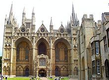 The Early English facade of Peterborough Cathedral is unique. The appearance of this facade is overwhelmingly and majestic.