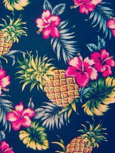 Image via We Heart It #colorido #cute #flowers #lindo #pineapple #tropical #wallpaper #fondos