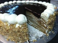 """Pumpkin Crepe Cake  -  Recipe: Yield: 1 ea. 10"""" cake 2 cups cake flour 1 tsp. salt 4 tsp. cinnamon 2 tsp. nutmeg 2 tsp.ginger 1 tsp. ground cloves 2 1/2 cups milk 1 cup sugar 26 eggs 1 cup honey 4 cups pumpkin puree 12 tbls. melted butter  Mix all the ingredients together. The batte..."""