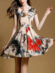 V Neck Short Sleeve Florals Pleated Dress