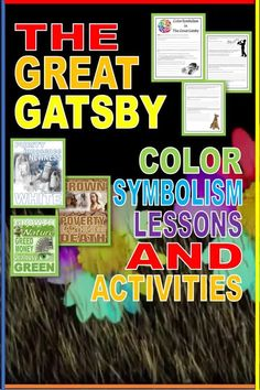 Students are fascinated by the color symbolism in Fitzgerald's classic, The Great Gatsby. Check out this engaging presentation, activity, and essay assessment guide. GORGEOUS color symbolism posters! Beautiful graphics and clearly presented content. Activities are pdfs, digital-enabled for distance learning or as handouts during face to face instruction. #highschoolenglish #secondaryela #distancelearningela #onlinelessonsela
