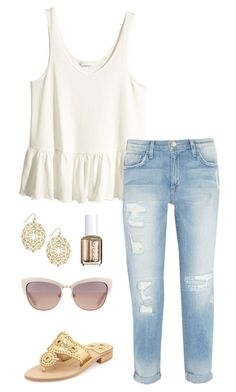 ruffled top by kcunningham1 on Polyvore featuring H&M, Current/Elliott, Jack Rogers, Kate Spade and Essie