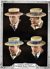 1920's men's straw boater hats. The band colors often represented a college or gentlemen's club colors.