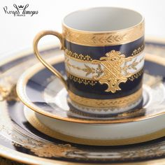 """""""Recamier"""" shape with gold incrusted design, cobalt blue and hand painted relief gold adornment."""