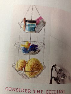 Shower organization from the ceiling. Need something like this for all the kids' bath toys