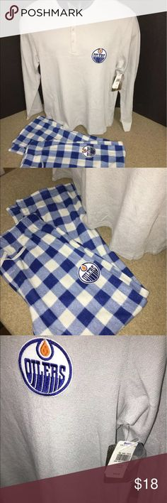 NWT NHL Edmonton Oilers Men's Large Pajama Set Brand new with tags!  Originally $44.99  NHL Apparel  Edmonton Oilers  Thermal Style Henley Top  Fleece Pants  Stitched Logo on pants and shirt  Men's Size Large   Sizing is done by the manufacturer  We post it as the manufacturer identifies it  Pictures are part of the listing description  Ask questions before you buy NHL Apparel Other
