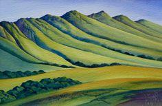 Te Mata Peak by Raewyn Harris www. Sky Art, New Zealand, Art Ideas, Landscapes, Artists, Painting, Art, Paisajes, Scenery