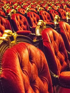 Palais Garnier (Opera), Paris, France. Architect: Charles Garnier. 1860-1875. Interior. The Italian-style horseshoe shaped auditorium has 1900 red velvet seats.