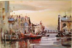 Corneliu Dragan-Targoviste Watercolor Artists, Artist Painting, Watercolor Paintings, Boat Painting, Traditional Art, Watercolors, Venice, Boats, Ships