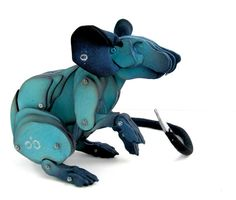 Turquoise Articulated Rat by LauraMathewsArtist on Etsy, £200.00