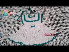 كروشيه فستان بنوته عمر سنه خيط وابره  Crochet Baby Dress