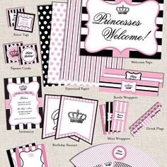 Sweet 16 invite ideas- Free princess party printables with editable text fields! 1st Birthday Parties, Girl Birthday, Paris Birthday, Free Birthday, Birthday Ideas, Fiestas Party, Princess Party, Pink Princess, Princess Birthday