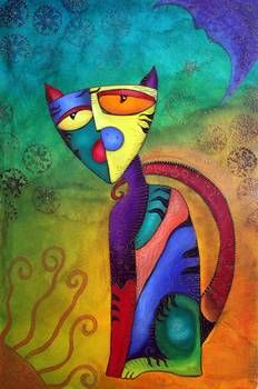 """""""Celestial Cat"""" by Laura Barbosa: Celestial Cat Art - 'Celestial Cat' is a celebration of the feline both in fantasy and reality. Cats are very spiritual beings and can be associated with the celestial realm. A very UNIQUE cat hand..."""