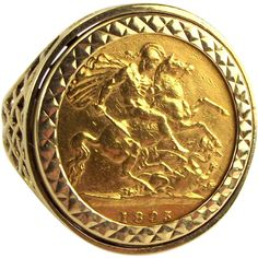 22ct Gold 1895 1/2 SOVEREIGN Ring Set In 9ct Gold Mount from Orange Tree Collectables in England and on Ruby Lane