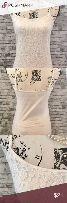ANN TAYLOR CREAMY IVORY FLORAL LACE CAMI NEW WOMEN'S ANN TAYLOR CAMI CREAMY IVORY STRETCHY FLORAL 100% COTTON LINED LACE SIZE SMALL BRAND NEW PRETTY   SMOKE FREE HOME Ann Taylor Tops Camisoles