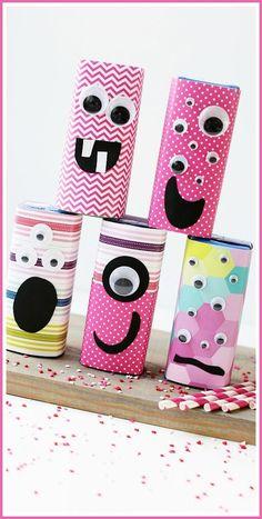 Valentine Monster Juice Boxes - super fun valentine craft treat idea! - - Sugar Bee Crafts