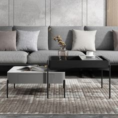 square coffee table Tv Stand And Coffee Table, Coffee Table Design, Coffee Tables, Modern Table, Modern Sofa, Table Furniture, Furniture Design, Sectional Coffee Table, Living Room Designs