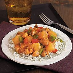 Sweet and Sour Chicken Recipe in the Crockpot.      Note: this was very good and easy! I used flour instead of cornstarch and left out the vinegar. 506 calories for the sauce.