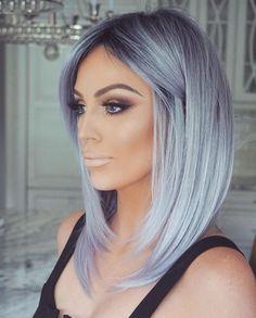 Shampoo for dyed gray hair Grey Hair Wig, Silver Blonde Hair, Lace Hair, Ombre Hair, Blue Gray Hair, Silver Hair Highlights, Navy Blue, Emo Hair, Brunette Hair